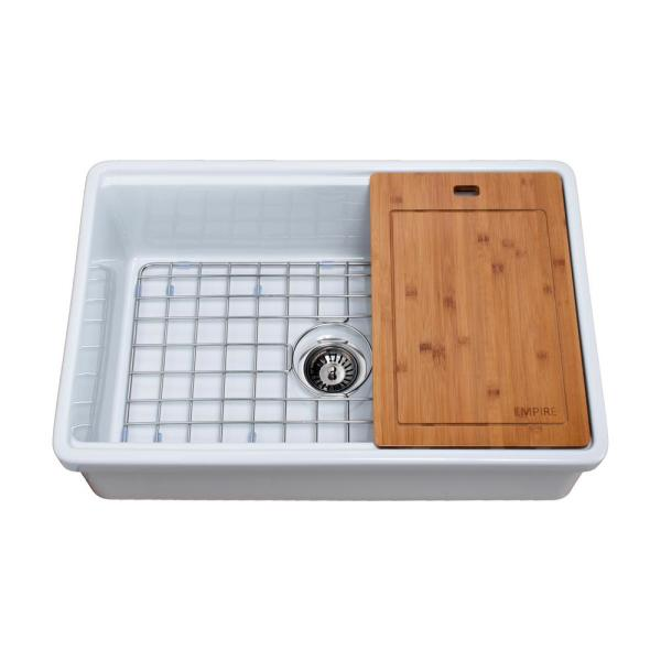 Empire Industries Tosca Farmhouse Fireclay 30 In Single Bowl Kitchen Sink In White With Cutting Board Bottom Grid And Strainer To30 The Home Depot