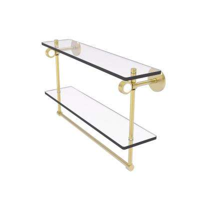 Clearview Collection 22 Inch Double Glass Shelf with Towel Bar and Groovy Accents in Satin Brass