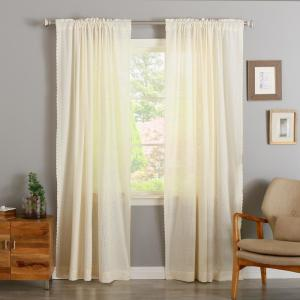 Ivory 96 inch L Cotton Patch Embroidered Curtain Panel (2-Pack) by