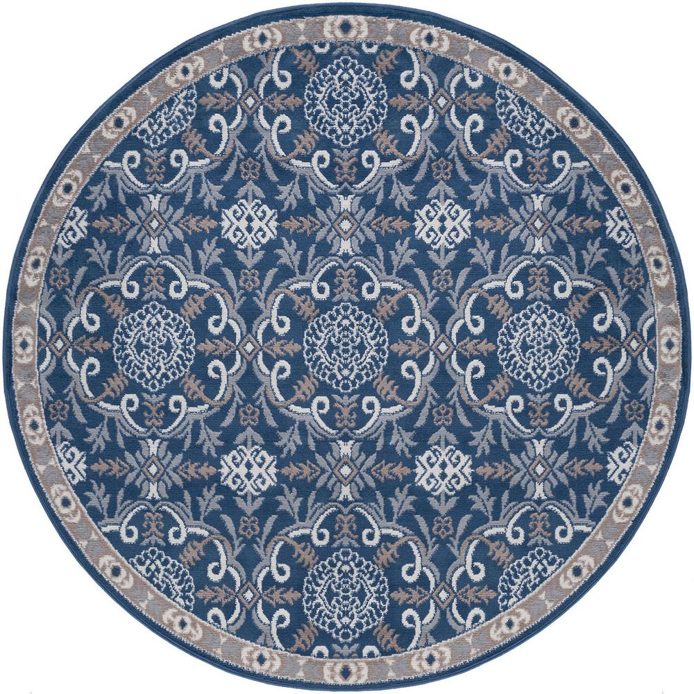 Tayse Rugs Hampton Traditional Navy 5 Ft Round Area Rug