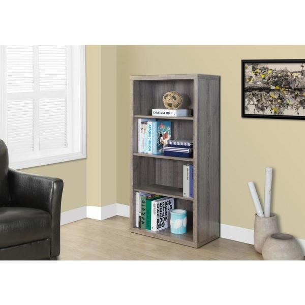 Monarch Specialties Dark Taupe Adjustable Open Bookcase I 7060