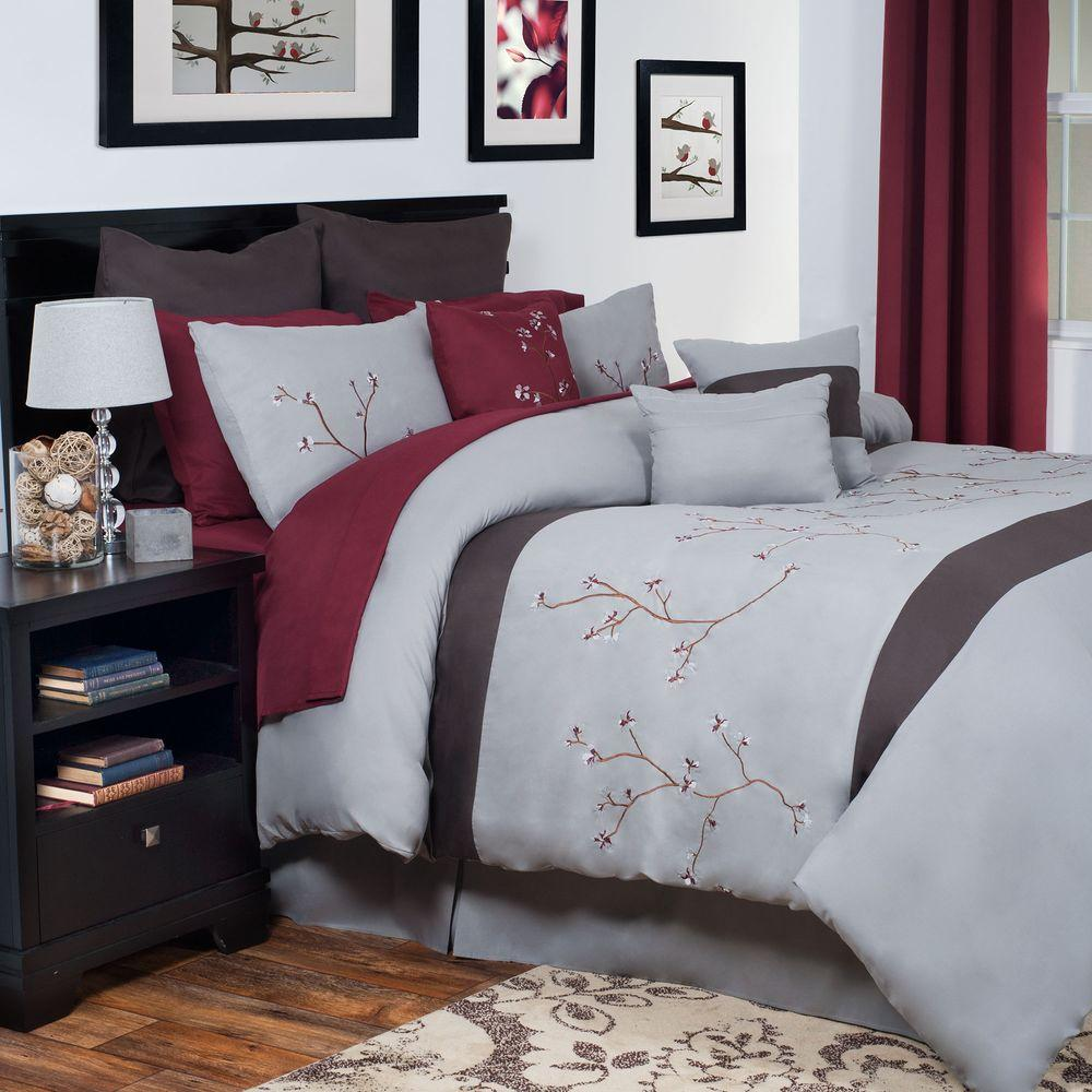 null Grace Gray Embroidered 14-Piece King Comforter Set