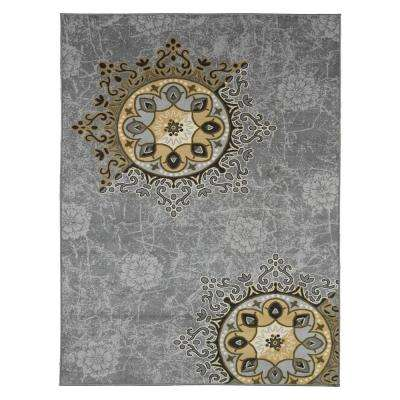 Studio Collection Medallion Design Grey 5 ft. x 6 ft. Non-Skid Area Rug