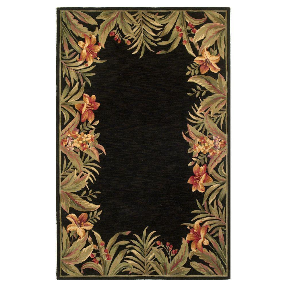 Kas Rugs Border Bouquet Black 7 ft. 9 in. x 9 ft. 6 in. Area Rug