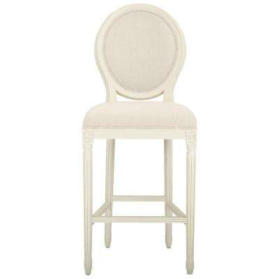 Jacques 30.5 in. Natural Cushioned Bar Stool in Antique Ivory with Oval Back