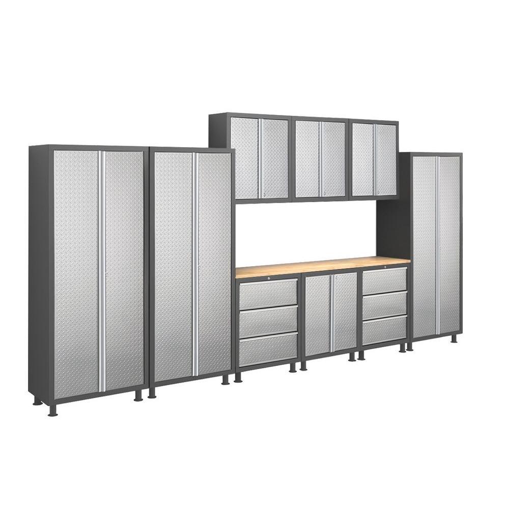 NewAge Products Bold Diamond Plate Series 14 ft. Welded 23-gauge Steel Workshop/Garage Cabinet Set (10-Piece)-DISCONTINUED
