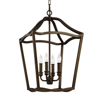 Yarmouth 4-Light Painted Aged Brass Hall Fixture Chandelier