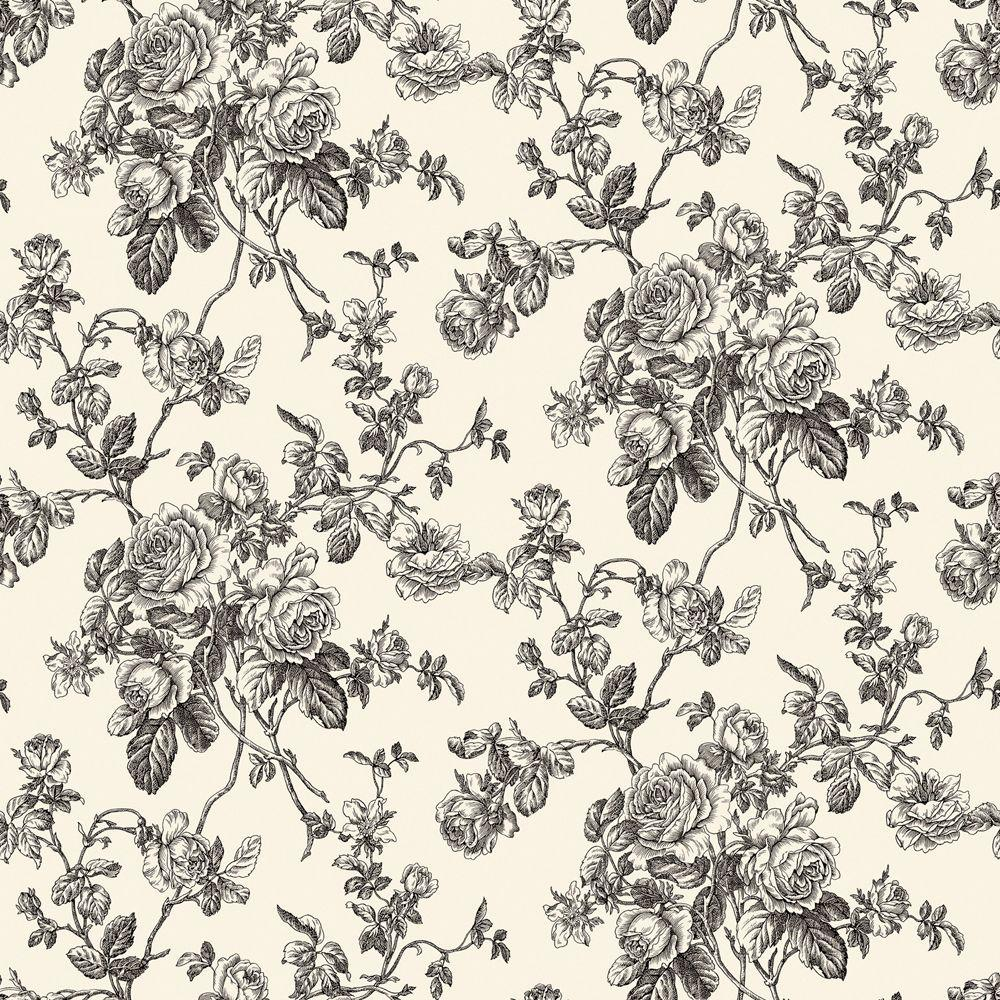 The Wallpaper Company 8 in. x 10 in. Black and White Lacey Rose Toile Wallpaper Sample