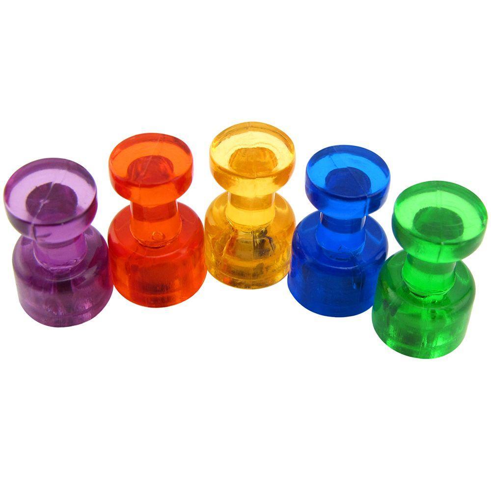 15mm dia x 21mm tall 10 Packs of 10 Medium Black Acrylic Push Pin Magnet