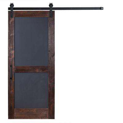 36 in. x 84 in. Chalkboard Barn Door with Garrick Hardware in Flat Black with Unfinished Header