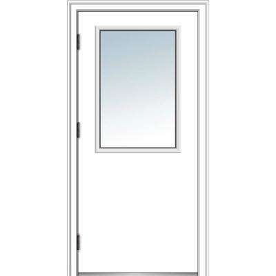 32 in. x 80 in. Classic Right-Hand Outswing 1/2 Lite Clear Primed Steel Prehung Front Door with Brickmould