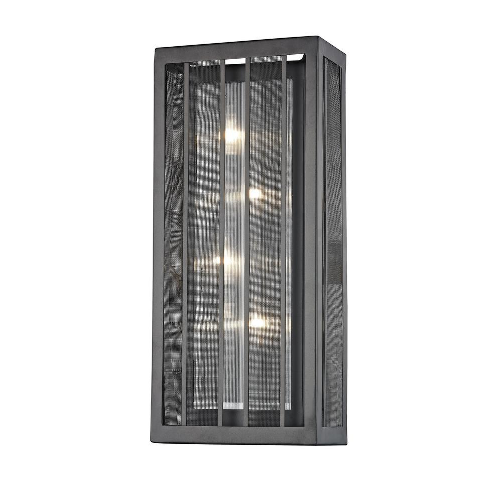 Soraya 4-Light Bronze Sconce with Bronze and Clear Reeded Glass and