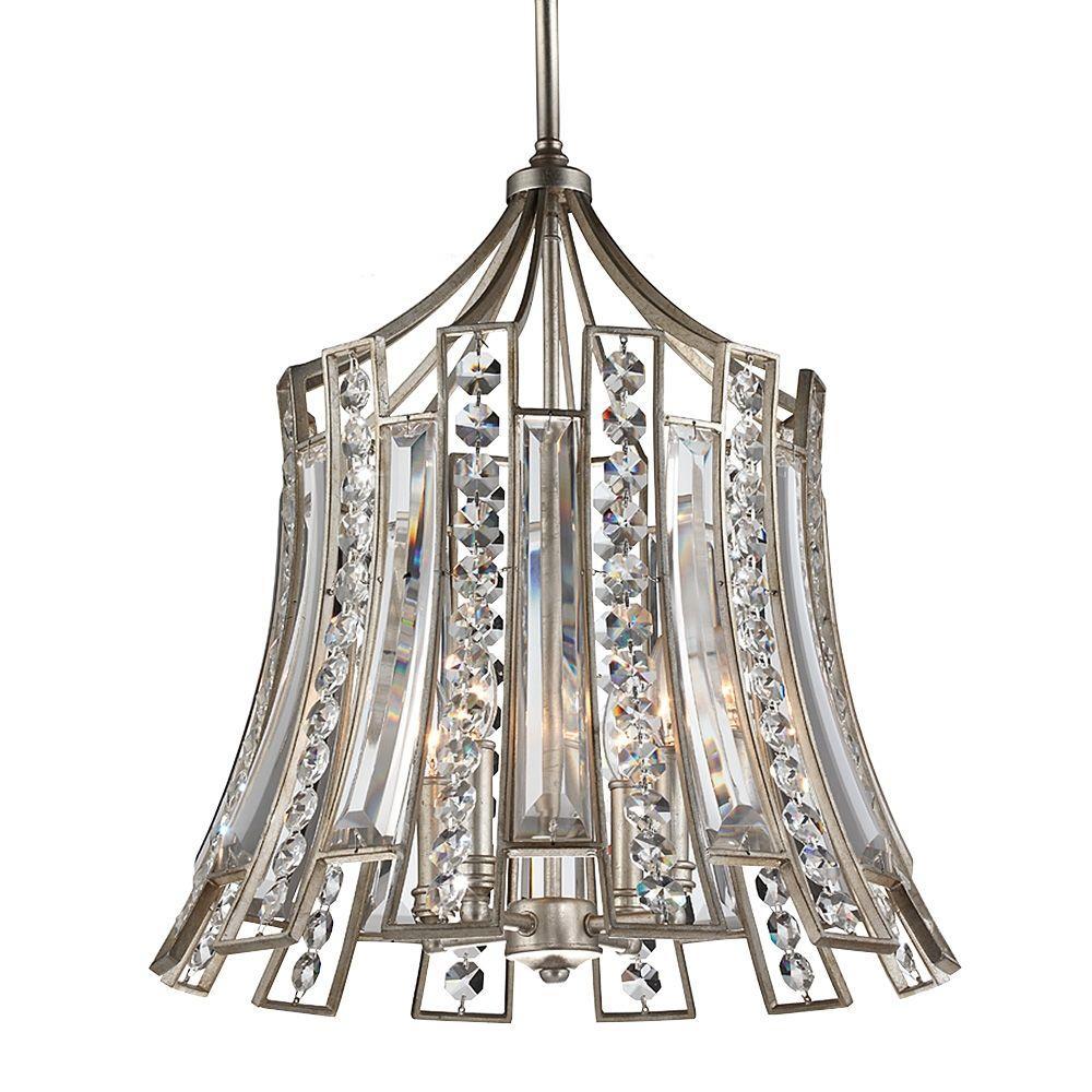 Soros 20.25 in. W 4-Light Ebonized Silver Leaf Chandelier with Crystal Shade