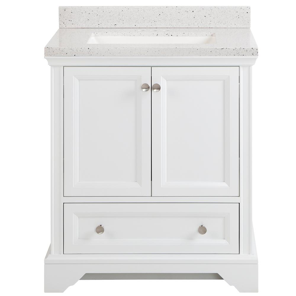 Home Decorators Collection Stratfield 31 in. W x 22 in. D Bathroom Vanity in White with Solid Surface Vanity Top in Silver Ash with White Sink