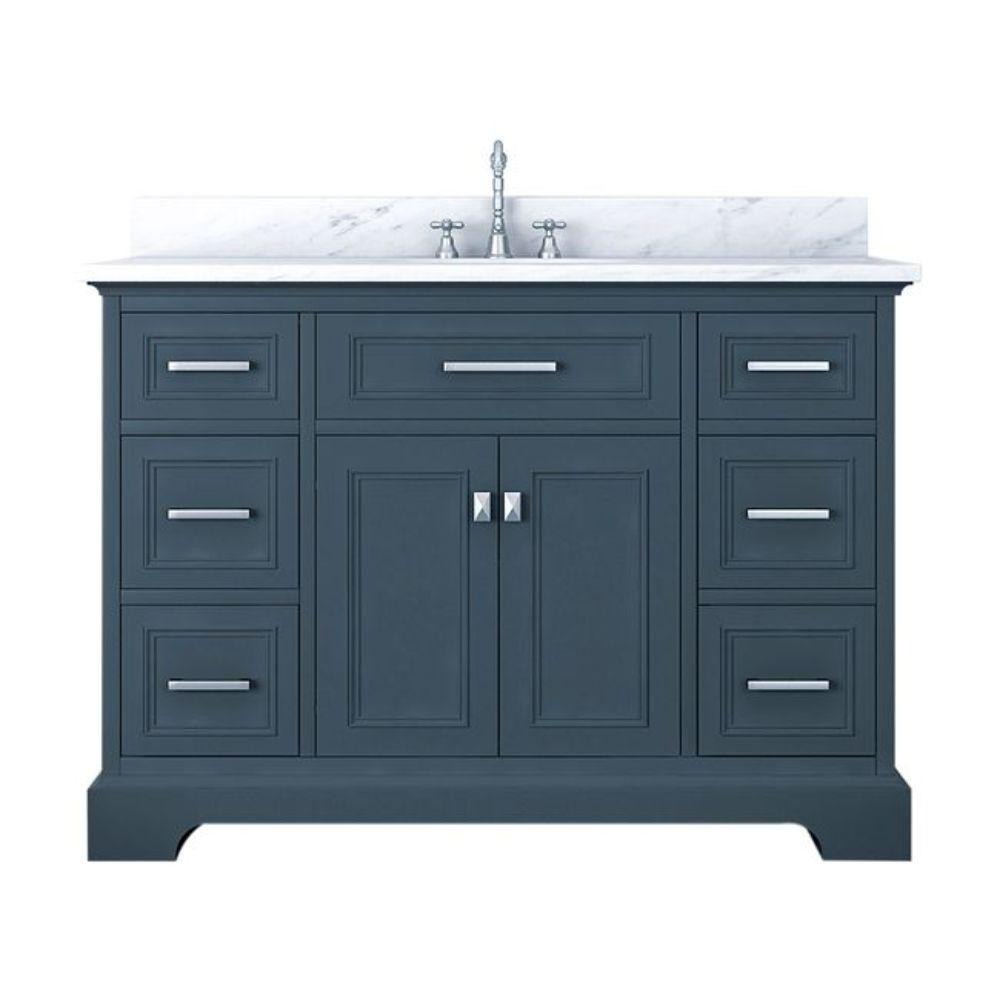Alya Bath Yorkshire 49 in. W x 22 in. D Bath Vanity in Gray with Marble Vanity Top in White with White Basin