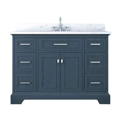 Yorkshire 49 in. W x 22 in. D Bath Vanity in Gray with Marble Vanity Top in White with White Basin