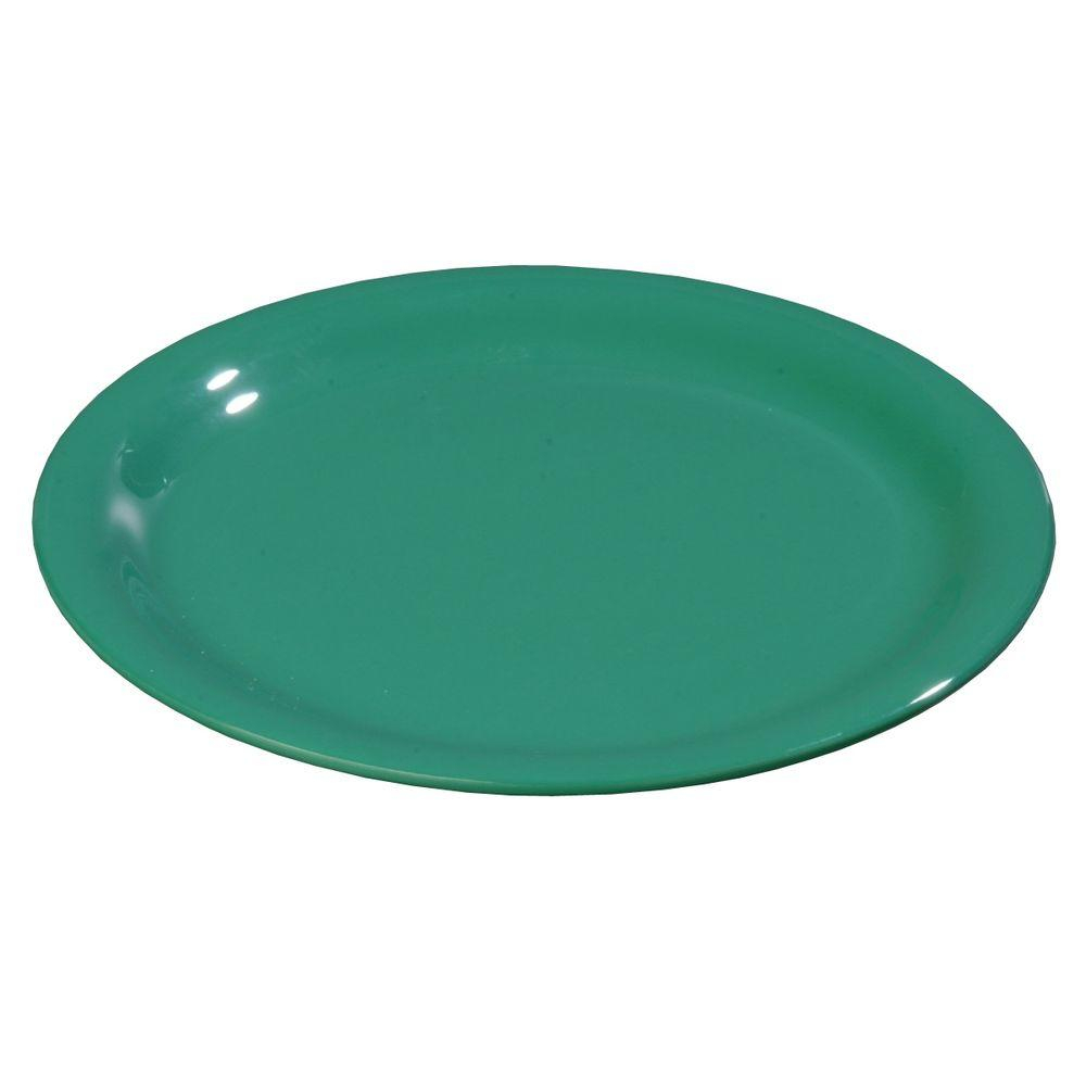 9 in. Diameter Melamine Wide Rim Dinner Plate in Green (Case