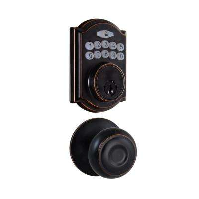 Castle Aged Bronze Keypad Deadbolt with Hartford Aged Bronze Hall and Closet Passage Knob