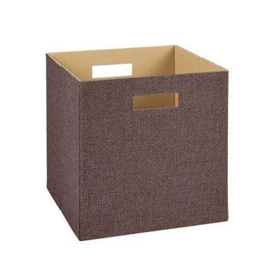 13 in. H x 13 in. W x 13 in. D Decorative Fabric Storage Bin in Brown