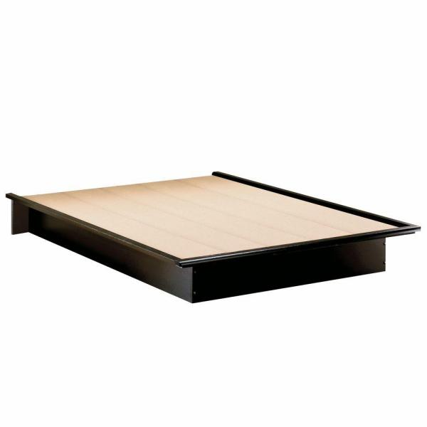 South Shore Step One Full Size Platform Bed In Pure Black 3070234 The Home Depot