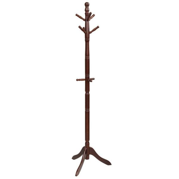 Walnut Free Standing Coat Rack Wooden Hall Tree 2-Adjustable Height with 9-Hooks