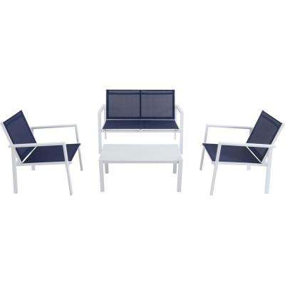 Naples 4-Piece Aluminum Patio Conversation Set in Navy Blue