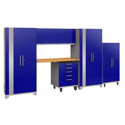 Performance Plus 2.0 80 in. H x 161 in. W x 24 in. D Steel Garage Cabinet Set in Blue (7-Piece) with Bamboo Worktop
