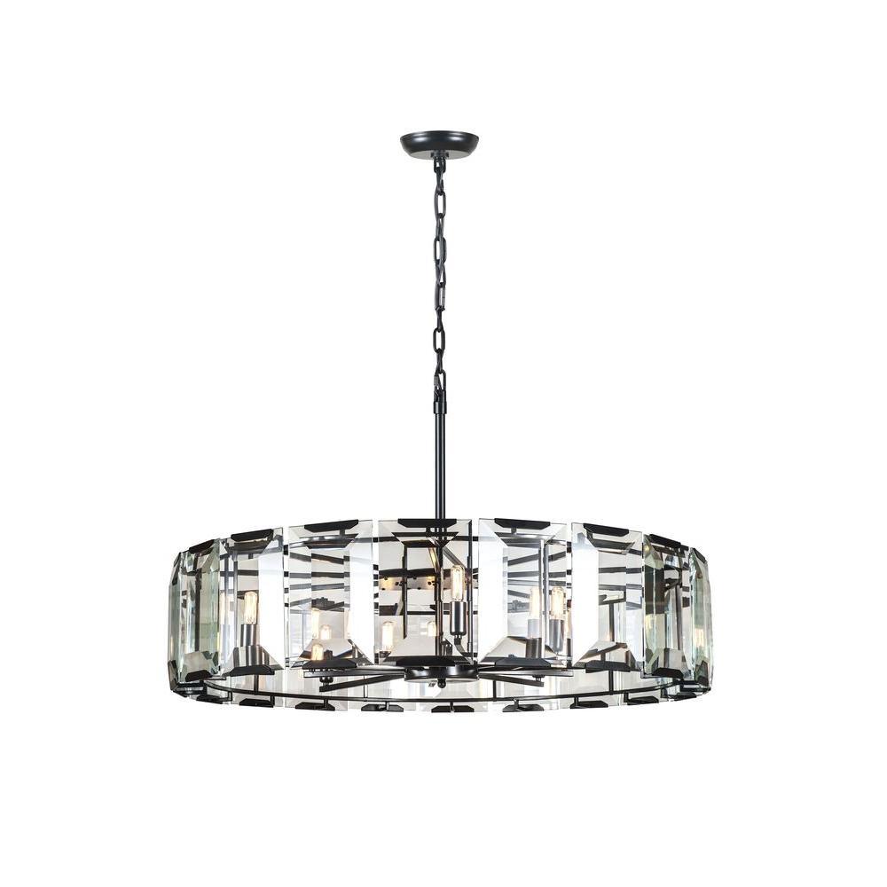 Monaco 10-Light Flat Black Matte Glass Crystal Clear Pendant