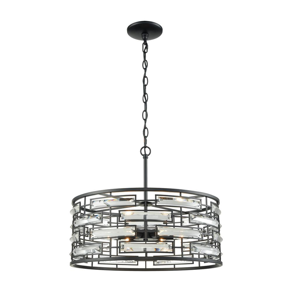 An Lighting Lineo 6 Light Matte Black Chandelier With Clear Crystal And Metal Shade