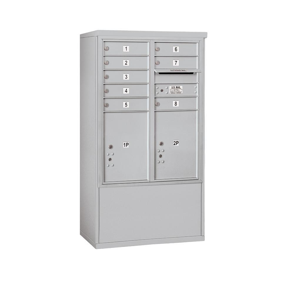 3900 Horizontal Series 8-Compartment 2-Parcel Locker Free Standing Mailbox