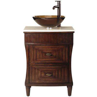 Fuji 24 in. W x 21 in. D x 38 in. H Vanity in Old Walnut with Marble Top in Cream with Glass Vessel Sink in Brown