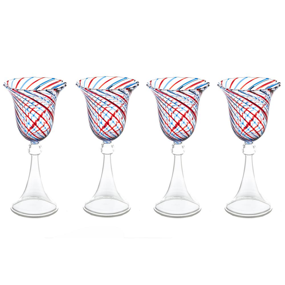 Red and Blue Swirl Wine Glass, 6 oz., (Set of 4), 3.5''D x 7.75''H
