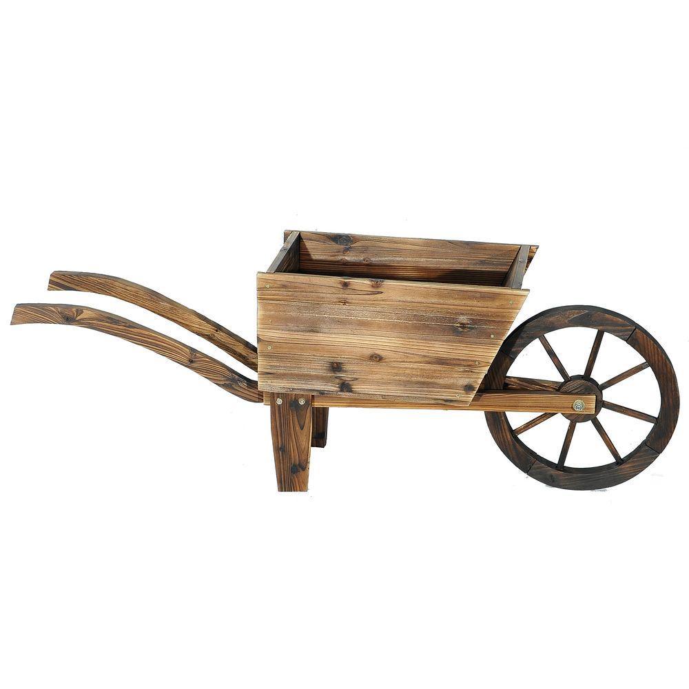 13 in. Dia Dark Brown Rustic Wooden Flower Cart