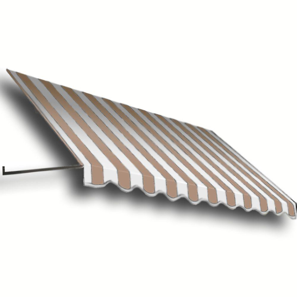 AWNTECH 5 ft. Dallas RetroAwning for Low Eaves (18 in. H x 36 in. D) in Tan/White Stripe