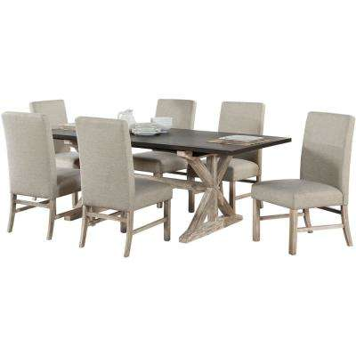 Ellington 7-Piece Dining Set with Expandable Trestle Table and 6-Fabric Chairs