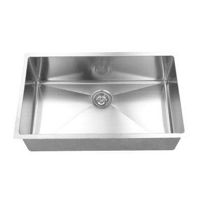 Hand Made 16-Gauge R15 Undermount 304 Stainless Steel 32 in. Single Bowl Kitchen Sink with Grid