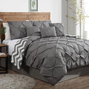 Ella Pinch Pleat Gray King Reversible Comforter with Bedskirt