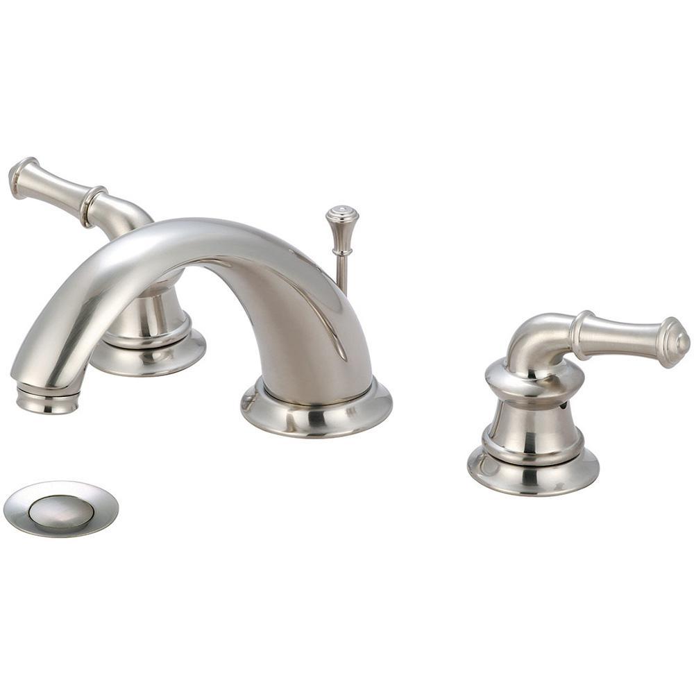Del Mar 8 in. Widespread 2-Handle Bathroom Faucet with Drain in Brushed Nickel