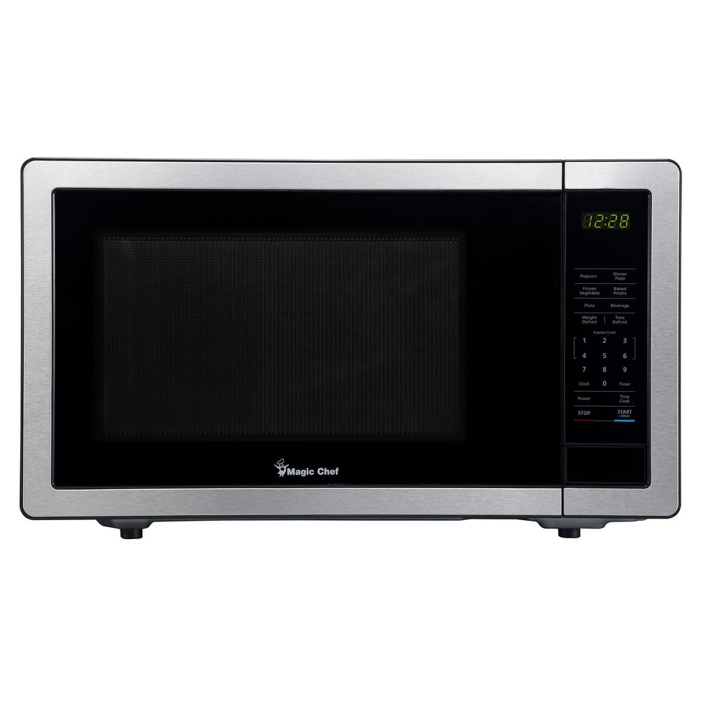 Magic Chef 1.1 cu. ft. Countertop Microwave in Stainless Steel with Gray Cavity-HMM1110ST - The Home Depot
