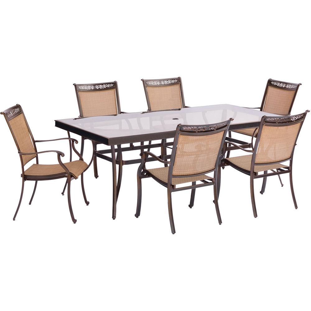 Fontana 7-Piece Aluminum Rectangular Outdoor Dining Set with Glass-Top Table