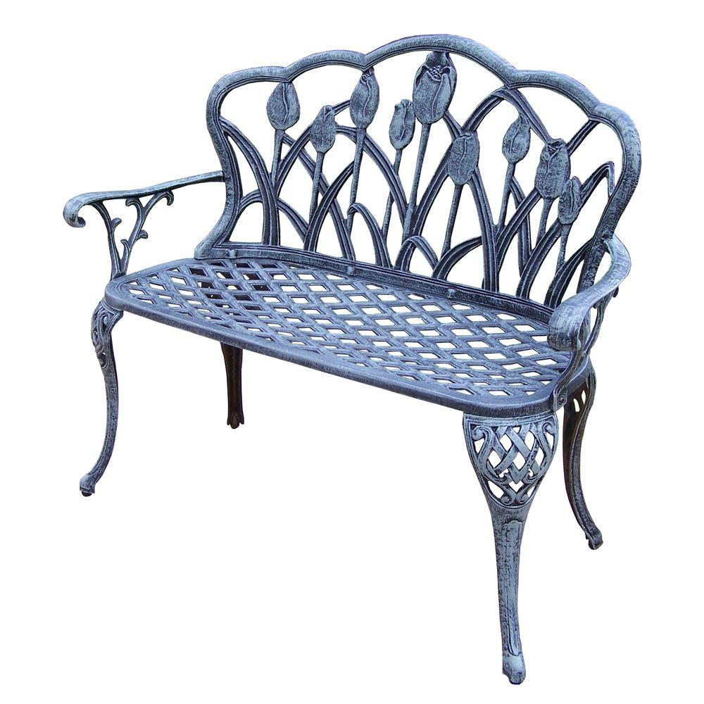 Fantastic Tulip Cast Aluminum Outdoor Loveseat Bench Andrewgaddart Wooden Chair Designs For Living Room Andrewgaddartcom