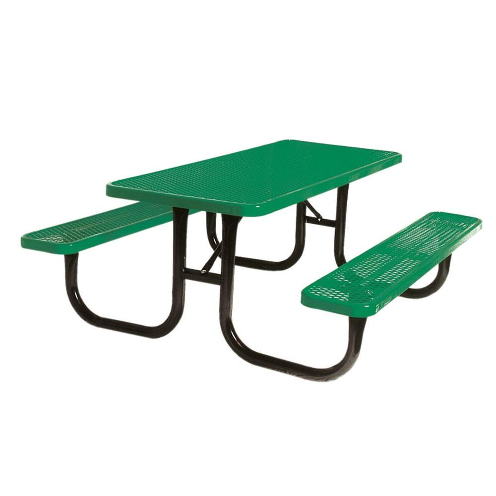 Portable 8 ft. Green Diamond Commercial Rectangular Table