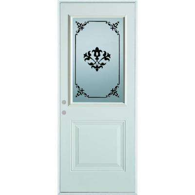 33.375 in. x 82.375 in. Silkscreened Glass 1/2 Lite 1-Panel Painted White Steel Prehung Front Door