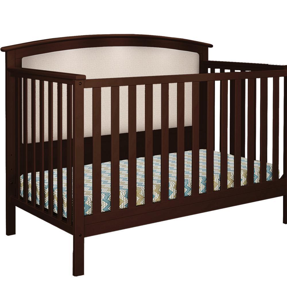 Bentley Espresso Beige Linen Upholstered Convertible Crib