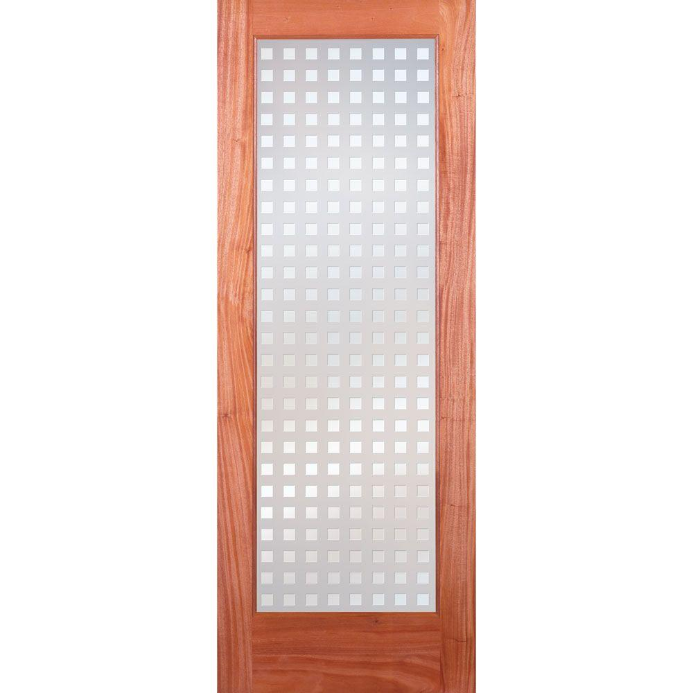 Feather River Doors 28 in. x 80 in. Multicube Woodgrain 1 Lite Unfinished Mahogany Interior Door Slab