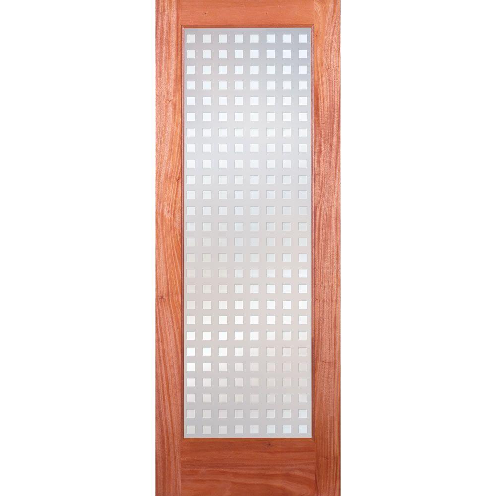 Feather River Doors 32 in. x 80 in. Multicube Woodgrain 1 Lite Unfinished Mahogany Interior Door Slab