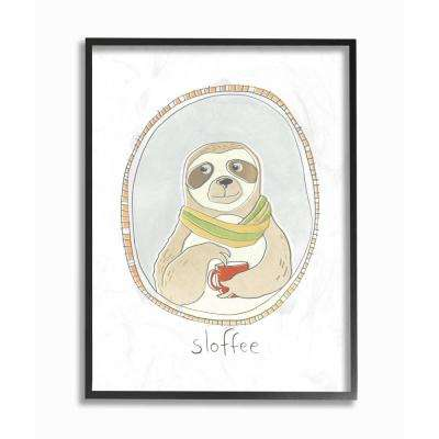 """16 in. x 20 in. """"Caffeinated Cutie Sloffee Sloth Funny Cartoon Coffee"""" by June Erica Vess Printed Framed Wall Art"""