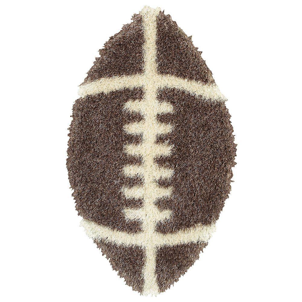 Shaggy Football Rug: LR Resources Senses Tri-Mocha Shag Football 2 Ft. X 4 Ft