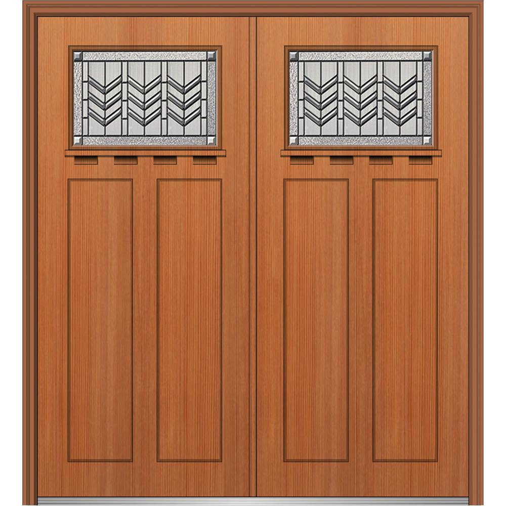 64 in. x 80 in. Prairie Bevel Right-Hand Inswing 1/4-Lite Decorative Stained Fiberglass Fir Prehung Front Door w/ Shelf