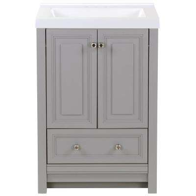 Brinkhill 25 in. W x 22 in. D Bath Vanity in Sterling Gray with Cultured Marble Vanity Top in White with White Sink